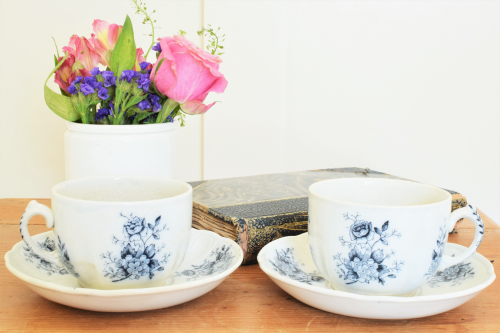 Black and White Cups and Saucers