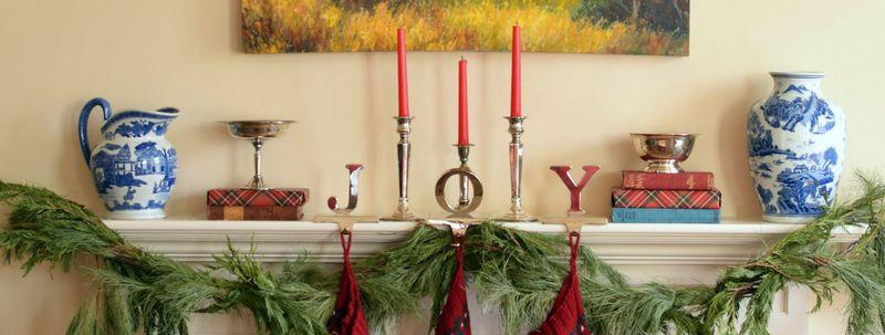 Close up tartan and stockings christmas