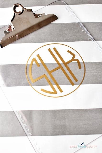 Monogrammed clipboard